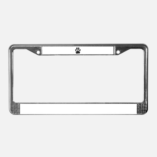 White Paws All Over Black Paw License Plate Frame