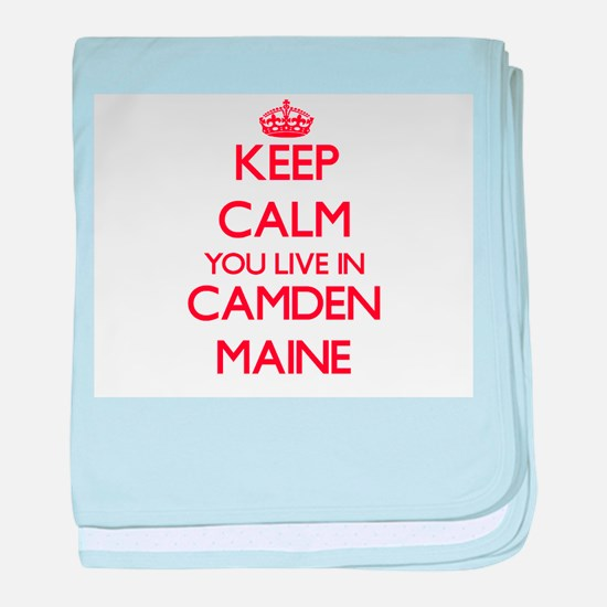 Keep calm you live in Camden Maine baby blanket