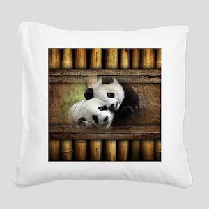 Panda Bear Love Square Canvas Pillow