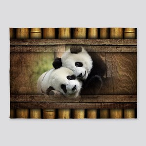Panda Bear Love 5'x7'Area Rug