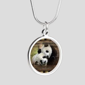 Panda Bear Love Silver Round Necklace