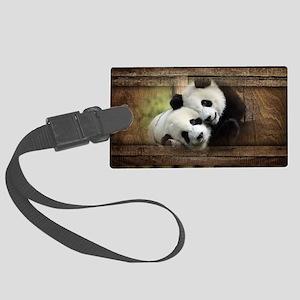 Panda Bear Love Large Luggage Tag