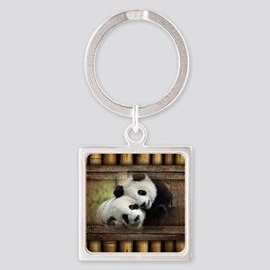 Panda Bear Love Square Keychain