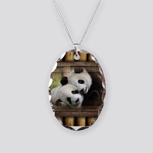 Panda Bear Love Necklace Oval Charm