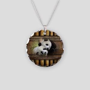 Panda Bear Love Necklace Circle Charm