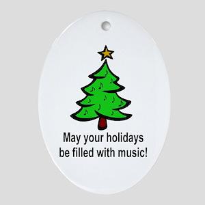 Musical Christmas Holiday Oval Ornament