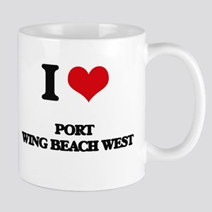 I Love Port Wing Beach West Mugs