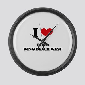 I Love Port Wing Beach West Large Wall Clock