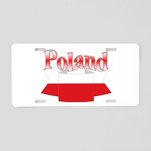 Ribbon Poland flag Aluminum License Plate