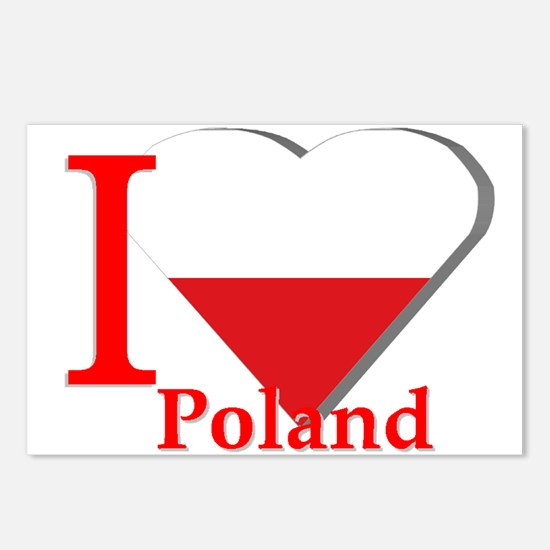 Ribbon Poland flag Postcards (Package of 8)