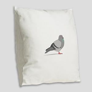 Cartoon Pigeon Burlap Throw Pillow
