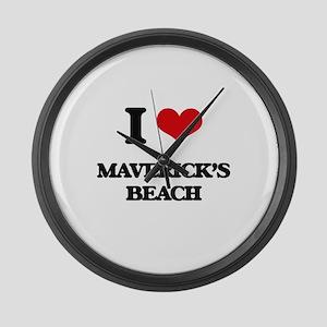 I Love Maverick'S Beach Large Wall Clock