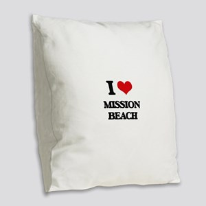 I Love Mission Beach Burlap Throw Pillow