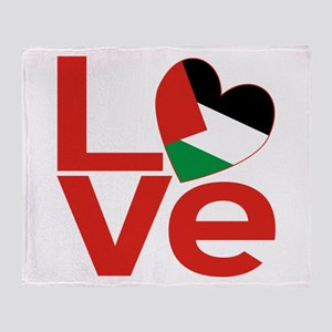 Red Palestinian LOVE Throw Blanket
