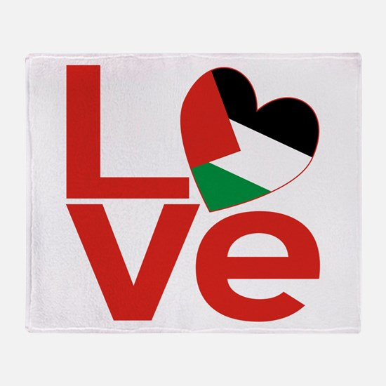 Red Palestinian LOVE Throw Blanket