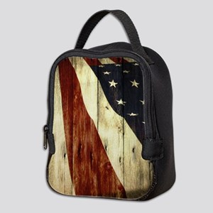 grunge USA flag American patrio Neoprene Lunch Bag