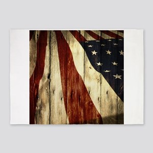 grunge USA flag American patriots 5'x7'Area Rug