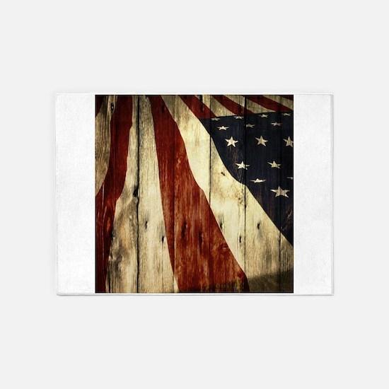 grunge USA flag American patriots 5'x7'Area Rug