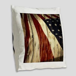 grunge USA flag American patri Burlap Throw Pillow