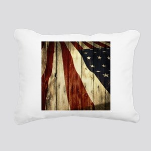 grunge USA flag American Rectangular Canvas Pillow
