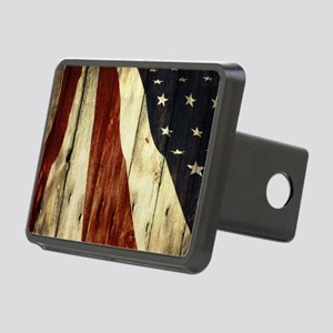 grunge USA flag American p Rectangular Hitch Cover
