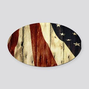 grunge USA flag American patriots Oval Car Magnet