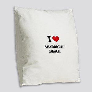 I Love Seabright Beach Burlap Throw Pillow