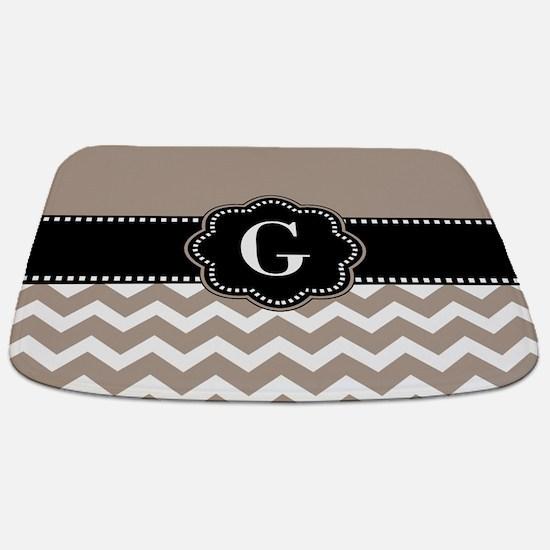 Beige Black Chevron Monogram Bathmat