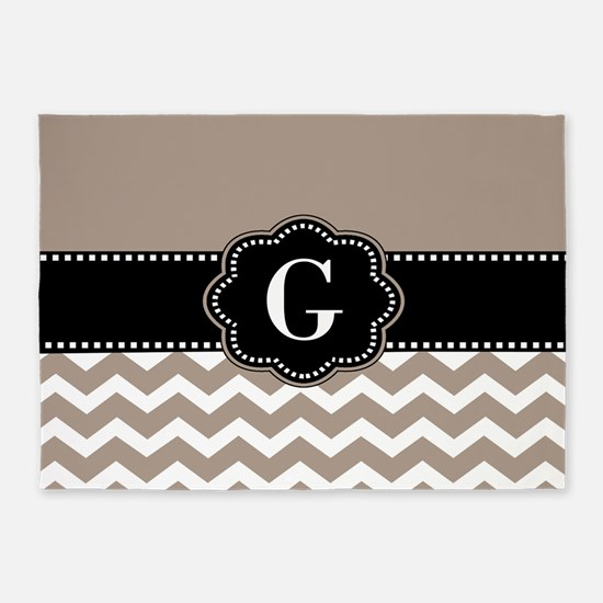 Beige Black Chevron Monogram 5'x7'Area Rug