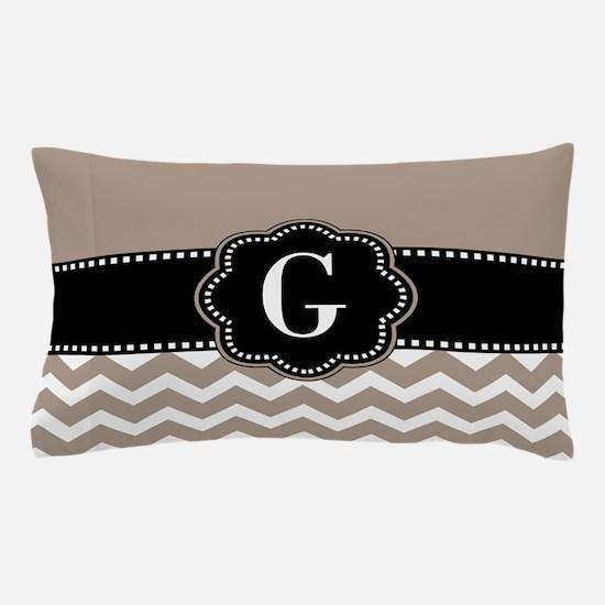 Beige Black Chevron Monogram Pillow Case