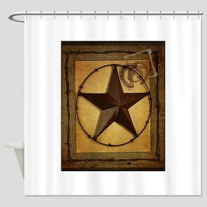Primitive texas star Shower Curtain