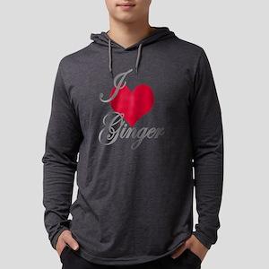 I love (heart) Ginger Mens Hooded Shirt