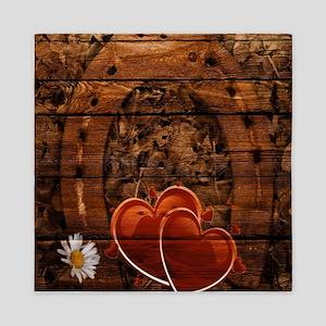 country love hearts horseshoe woodgrai Queen Duvet