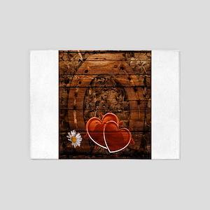 country love hearts horseshoe woodg 5'x7'Area Rug