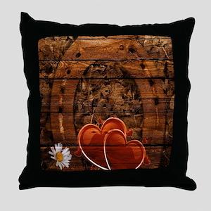 country love hearts horseshoe woodgra Throw Pillow