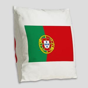 Portuguese flag Burlap Throw Pillow