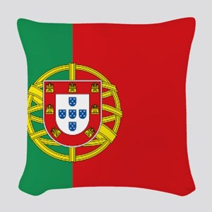 Portuguese flag Woven Throw Pillow