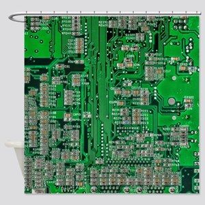 Circuit Board Shower Curtain