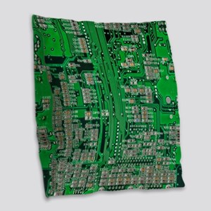 Circuit Board Burlap Throw Pillow