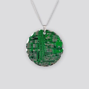 Circuit Board Necklace Circle Charm