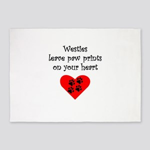 Westies Leave Paw Prints On Your Heart 5'x7'Area R