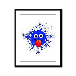 Blue Splat Dude Framed Panel Print