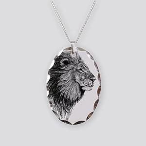 Lion (Black and White) Necklace Oval Charm