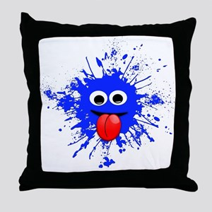 Blue Splat Dude Throw Pillow