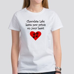 Chocolate Labs Leave Paw Prints On Your Heart T-Sh