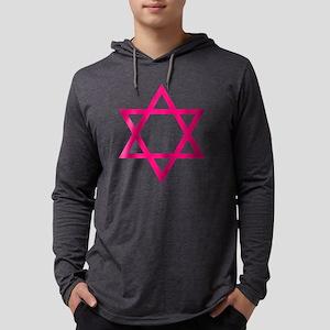Pink Star of David Mens Hooded Shirt