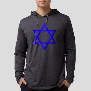 Blue Star of David Mens Hooded Shirt
