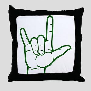 Green I Love You Throw Pillow