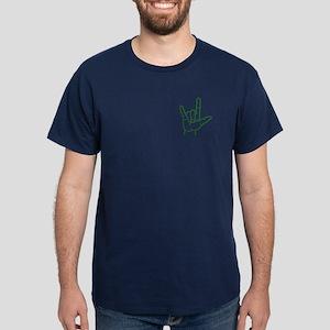 Green I Love You Dark T-Shirt