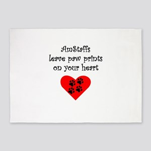 AmStaffs Leave Paw Prints On Your Heart 5'x7'Area